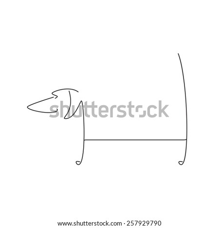 Stylized black dachshund silhouette isolated on white background. Logo template with space for company name on the dog`s back - stock photo