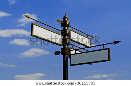 Stylized blank directional sign post on a sky background - stock photo