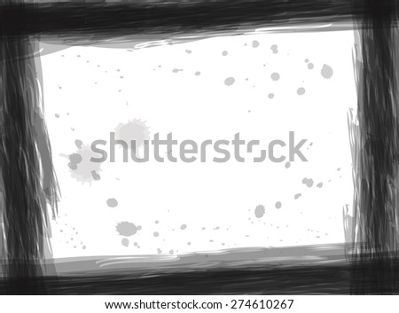 Stylized border black and white pattern and white Grunge frame