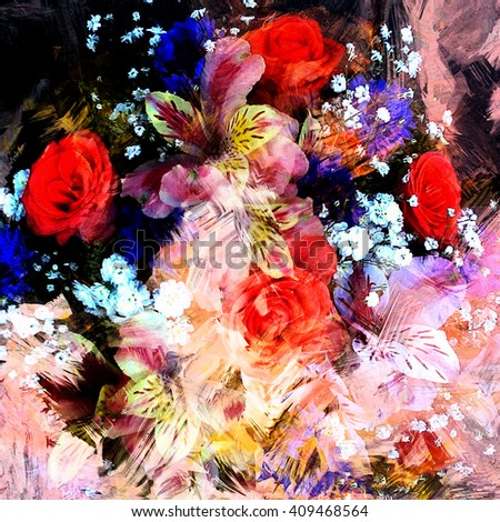 Stylized bouquet of roses,lily,cornflowers on grunge stained blurred colorful backdrop - stock photo