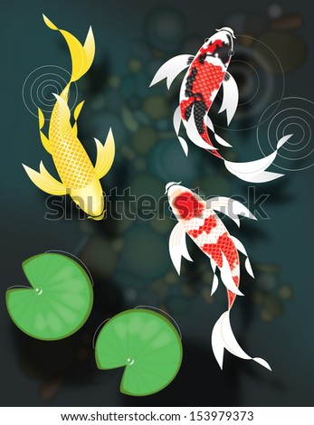Stylized butterfly koi fish swimming pond stock for Koi pond music