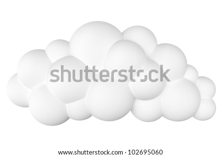 stylized cartoon cloud for site design or as icons. isolated on a white (second version) - stock photo