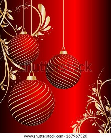 stylized Christmas ball on decorative background. raster copy - stock photo