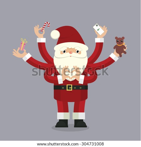 Stylized christmas illustration with many-armed Santa Claus on gray background close up details - stock photo
