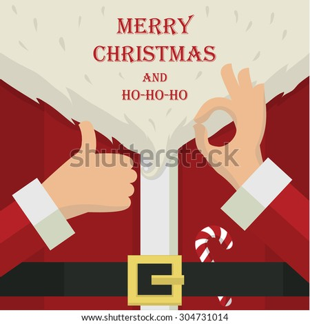 Stylized christmas illustration with Santa Claus close up details - stock photo