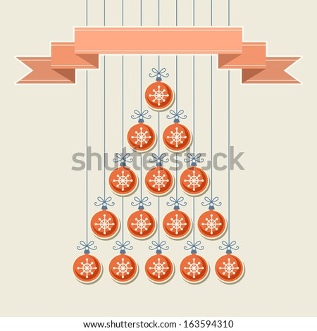 Stylized christmas tree made from red balls with snowflakes and banner. Original holiday invitation and greeting card. Vintage winter light background. Abstract drawing decorative illustration