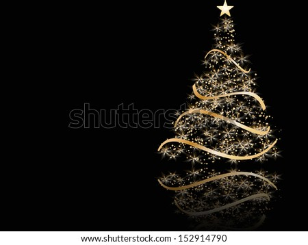 stylized Christmas tree on black background. raster copy of vector file - stock photo