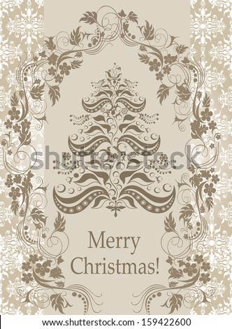 stylized Christmas tree on decorative vintage damask background