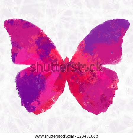 Stylized colorful splashy butterfly in a grungy white background