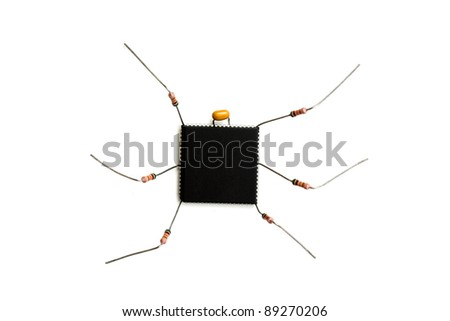 stylized computer virus of electronic components isolated on white background