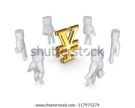 Stylized cursors around dollar sign.Isolated on white background.3d rendered. - stock photo