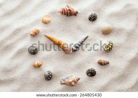 Stylized dial clock for shells on the sand for concentration and relaxation for harmony and balance in pure simplicity - macro lens shot - stock photo