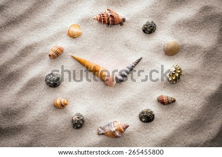 Stylized dial clock for shells on the sand for concentration and relaxation for harmony and balance in pure simplicity - macro lens shot. processing vignetting. - stock photo