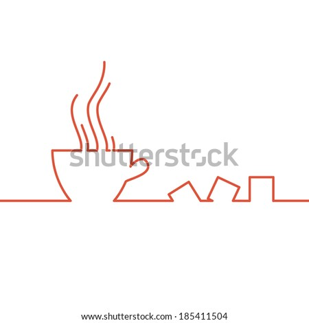 Stylized drawing of a cup of coffee.  illustration. - stock photo