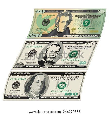 Stylized drawings of Bills - stock photo
