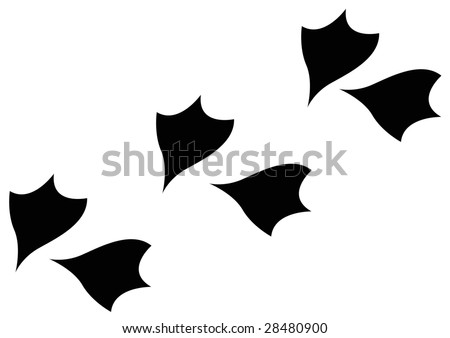 stylized duck footprints - stock photo