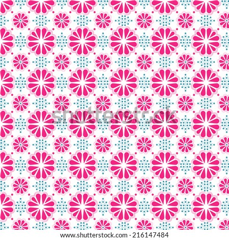 Stylized duo tone pink & blue floral wallpaper. Based on traditional talavera style designs in modern colors.  - stock photo