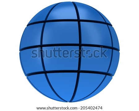 Stylized Earth planet globe 3d icon on white background