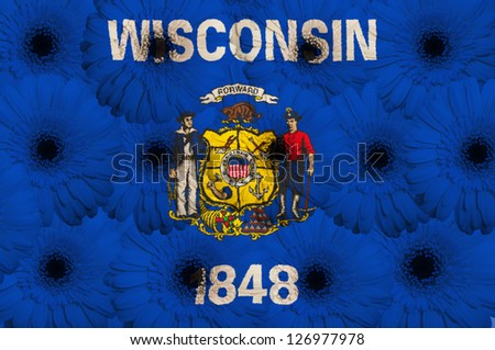 stylized flag of us state of wisconsin with gerbera daisy flowers as concept and symbol of love, beauty, innocence, and positive emotions - stock photo