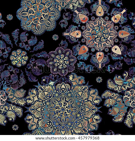 stylized flowers lace  background on black