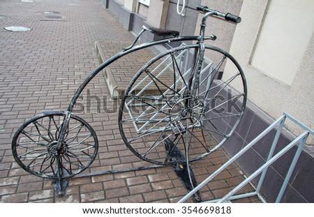 Stylized forged bicycle for parking. Kiev, Ukraine - stock photo