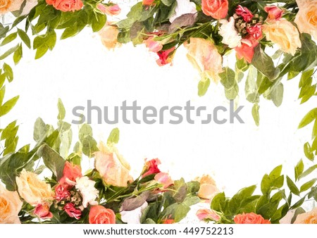 Stylized Frame Pattern Flowers Wedding Invitation Stock Illustration ...