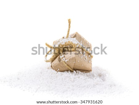 Stylized gift box as a Christmas gift on a white background - stock photo