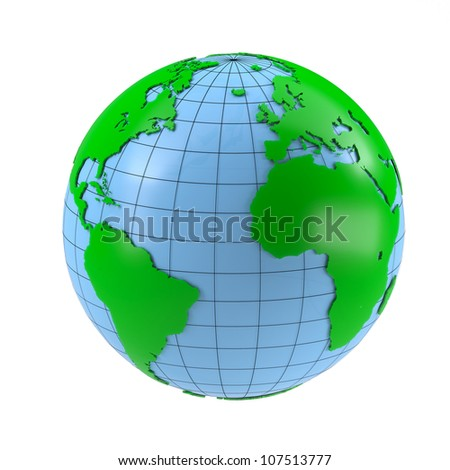 Stylized globe. Isolated on white background
