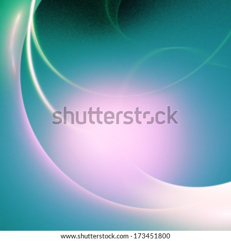 stylized glowing sphere, green, purple on black - stock photo