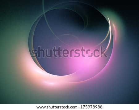 stylized glowing sphere, purple, green on black - stock photo