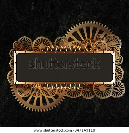 Stylized golden gearsmechanical steampunk collage. Made of metal frame and clockwork details.