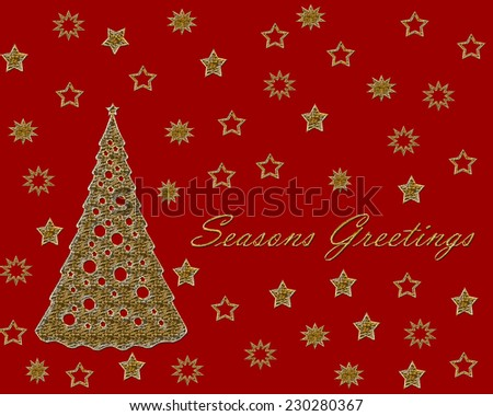 Stylized golden stars and Christmas tree with Christmas text