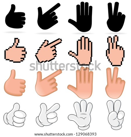 Stylized Human Hand. Collection with Variety Design.