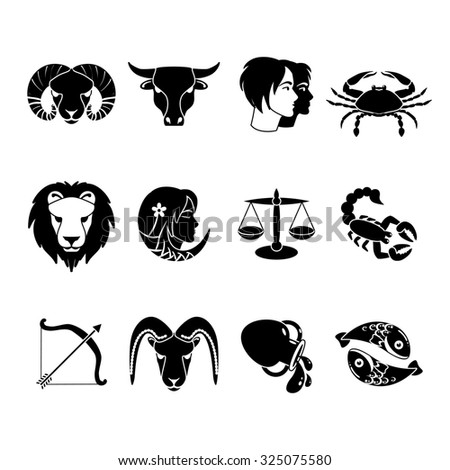 Stylized icons set of twelve zodiac signs for every day of birth  black  abstract isolated  illustration