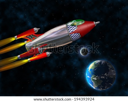 Stylized illustration of a retro rocket flying through space - stock photo