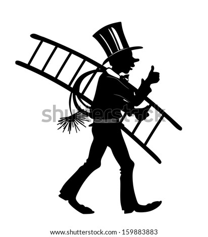 stylized illustration of chimney sweeper with thumbs up