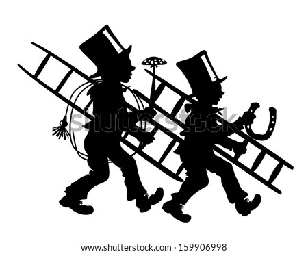 stylized illustration of two chimney sweepers with luck charms