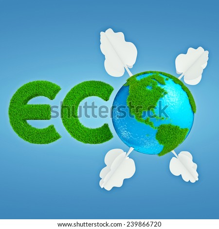 Stylized interpretation of the logo Eco Planet with continents of cartoonish grass and trees out of paper - stock photo