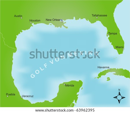 Stylized map of the area of the gulf of mexico. German captions. - stock photo