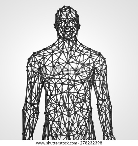 stylized men low poly wire construction concept Concept communication - stock photo