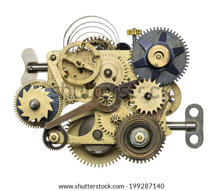 Stylized metal collage of clockwork. - stock photo