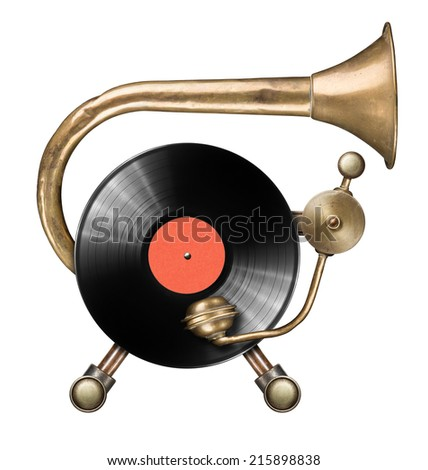 Stylized metal collage of vinyl record turntable - stock photo