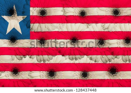 stylized national flag of liberia with gerbera daisy flowers as concept and symbol of love, beauty, innocence, and positive emotions - stock photo