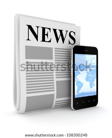 Stylized newspaper and modern mobile phone.Isolated on white background.3d rendered.
