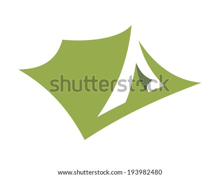 Stylized open pitched tent design or icon logo in green. Vector version also available in gallery - stock photo