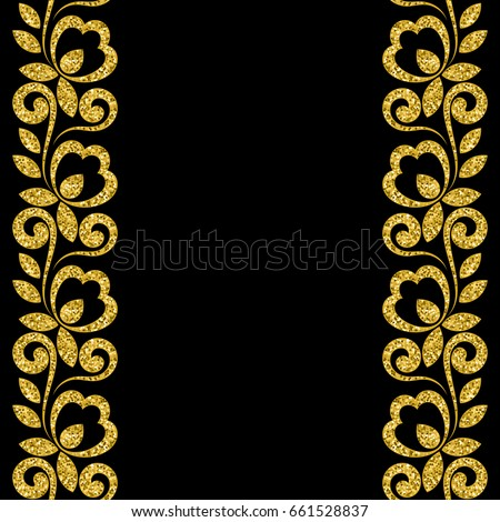 Stylized ornament made of golden shiny confetti. Illustration