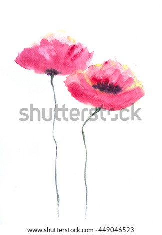 Stylized Poppy flowers on white, Acrylic color painting