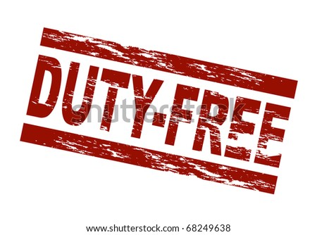 Stylized red stamp showing the term duty-free. All on white background.