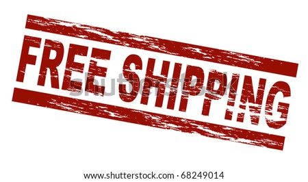 Stylized red stamp showing the term free shipping. All on white background.