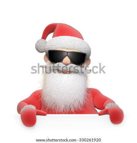 Stylized Santa Claus character - Christmas background illustration - stock photo